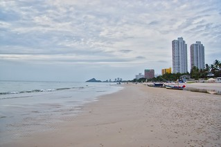 Cloudy morning at the beach in Hua Hin, Prachuap Khiri Khan, Thailand