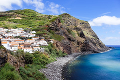 Corvo coastline - Azores Islands (Luca Quadrio) Tags: view landscape village panoramic nature tourism mountains azores outdoor rural summer color light sea atlantic blue colorful ocean portugal travel cloud scenic fields sky green island europe corvo coast azzorre portogallo pt