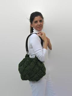 Shoulder Bag Knitted in Marl Green Wool - Tote Bag