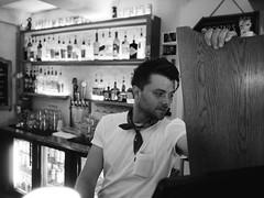 Barnes (BurlapZack) Tags: olympusomdem5markii olympusmzuiko17mmf18 vscofilm pack06 dallastx oakclifftx texastheatre bar bartender portrait candid bokeh dof microfourthirds bw mono monochrome availablelight lowlight highiso handheld beer