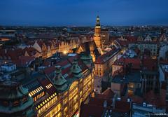 Flying over Wroclaw (Antoni Figueras) Tags: breslau wroclaw poland polska bluehour illuminated skyline market oldtown mostekpokutnic mariimagdaleny sonya7rii sony1635f4 europe