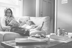 Unplanned R&R (flashfix) Tags: august232018 2018inphotos ottawa ontario canada nikond7100 28mm nikon flashfix flashfixphotography portrait female splint couch lazy bedrest book nintendo laptop books mug youareherecollection ipad magazines bored monochrome blackandwhite selfportrait seflie