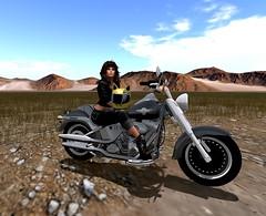 ride in the desert (**Tintin**) Tags: slphotography road desert motor harley davidson sexywoman femme virtualworld cloud catwa maitreya bodymesh meshbody meshhead bluesky