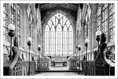 The chancel (G. Postlethwaite esq.) Tags: bw derbyshire norbury stmaryandstbartok alabastertombs blackandwhite c1305 chancel choirstalls church monochrome photoborder stainedglass windows