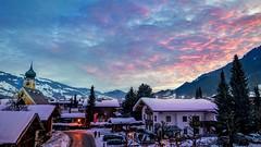 Winter Sunrise Westendorf, Austria (1maarten) Tags: winter sunrise westendorf sun church road trees light morning snow sky