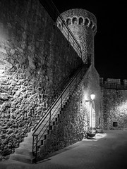 Tossa Tower (Johnners61) Tags: blackandwhite bw blancoynegro mono night evening tossa tossademar spain catalonia catalunya old historic tower town city walls mood moody dark atmospheric olympus olympuspen pen ep5 microfourthirds micro four thirds m43 mft