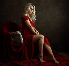 Amaranth (Ornicar photographie) Tags: woman sensual studio shadows red france portrait boudoir