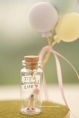 It's a wonderful life, Tiny message in a bottle,Miniatures,love,Valentine Card,Gift for her/him,Girlfriend gift,Mother's gift, birthday card, message card and funny card ideas (charles fukuyama) Tags: balloon birthdaygift handmade custom unique cute art holidaycard homedecor deskdecor glitter lovecard christmascard xmas greetingscard paper seasonalcard partygift personalizedgift longdistancegift kikuikestudio tiny bottle