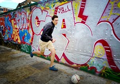 The Special One (Steve Lundqvist) Tags: soccer kid guy boy ball football footpath sidewalk wall painting art action location english london londra inghilterra england uk britain british street streetphotography fashion moda mood
