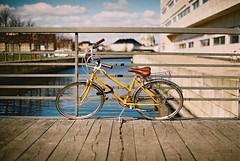 (Jill Slater) Tags: 35mm film canonae1 canonfd canonfd35mmf2ssc fujifilmsuperia400 copenhagen københavn denmark danmark dk havn canal harbour yellow bike christianshavn bridge
