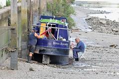 """Working On It"" (standhisround) Tags: narrowboat boats boat barge vessel thames riverthames isleworth people lowtide benariamba moorings mud"