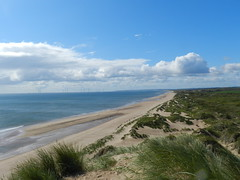 Newburgh Sands towards Balmedie Beach, Newburgh, Aberdeenshire, Aug 2018 (allanmaciver) Tags: newburgh balmedie aberdenshire east coast scotland sand sea wind turbines enery power rushes clouds white stretch golden dune allanmaciver
