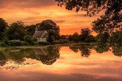Church By The Pond (Sunset Snapper) Tags: churchbythepond sunset hartleymauditt hampshire ghosttownofhampshire reflections clouds stleonardschurch pond lilies still tranquil trees monstercarp peaceful calm 1100ad filter lee nd grad nikon d810 2470mm august 2018 sunsetsnapper