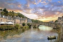 The bridge (Jean-Michel Priaux) Tags: dinan bretagne france paysage village architercture river bridge pont rock patrimony priaux hdr sunset sky