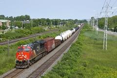 CN 3077 leading CN 377 (Michael Berry Railfan) Tags: cn3077 cn377 train freighttrain et44ac ge generalelectric gevo pointeclaire montreal quebec kingstonsub