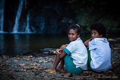 Schoolgirls at the Waterfall 3229 (Ursula in Aus - Travelling) Tags: jimclinephototour milnebay png papuanewguinea tawali