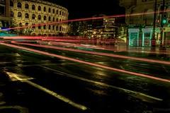 Giro al Infierno (*Nenuco) Tags: lighttrail valencia d5300 nikon 18105 nikkor plaza toros bous cars coches red rojo españa spain estelas ciudad city nenuco