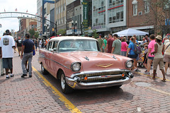 Rose (Flint Foto Factory) Tags: flint michigan urban city summer august 2018 home town hometown annual backtothebricks car festival downtown 1957 chevrolet chevy belair 4door sedan twotone rose colored generalmotors gm trifive moving motion inmotion classic american