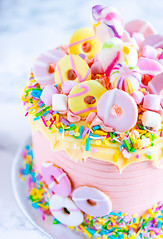 Party Cake (ChicqueeCat) Tags: cake party birthday confetti sprinkles food naturallight pink blue unicorn