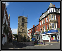 Clock Tower. Morpeth. Northumberland (M E For Bees (Was Margaret Edge The Bee Girl)) Tags: northumberland morpeth clocktower sun summer blue sky outdoors architecture building canon tower town windows stone road holiday shadow