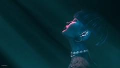 Oh Lord (10 MIX) Tags: art virtual secondlife sl 3d girl profile red blue bluetone lr ps photoshop lightning light lumipro studio earring makeup femme woman eyesclosed