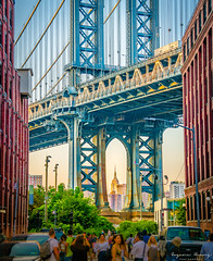 Sunset - Manhattan Bridge and Empire State Building (EugeneClassyAlbum) Tags: newyork newyorkcity newyorklife nyc ny photography sonyphotography sonya7 manhattan manhattanbridge brooklyn brooklynbridge bridge dumbo