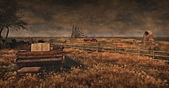 Sing a Lazy Song (Loegan Magic) Tags: secondlife missingmelody piano fields fence sheep sky windmill grunge grass trees water