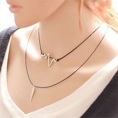 Birthday Gifts for Girls : EKG Heartbeat Necklace Multi-Layer Double Strand Nurse Punk Spike Charm Heart #U… (mygiftslist) Tags: gifts