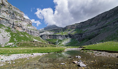 Ordesa Valley and Monte Perdido (dobetoh) Tags: dobetoh nikon d3300 mountain landscape august summer spain north pyrenees clouds sky river water flow rock valley green grass