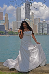 Rebin (tacosnachosburritos) Tags: chicago skyline skyscrapers sky clouds lake michigan boats wedding dress exotic south asian model milf girl chick lady woman stunning alluring enticing beautiful gorgeous hot sexy voluptuous sea water coast pose fashion thelook darkskin indian