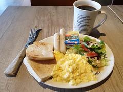 Chicken Sausages & Scramble Egg (:Dex) Tags: coffeebean breakfast sausage scrambleegg egg salad bread coffee yummy food butter penang