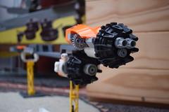 SHIPtember 2018 WIP: Day 4 (Harding Co.) Tags: lego space spaceship shiptember cargo freighter ship big long orange white grey pods minifigure flight flying vehicle wip progress diary engine