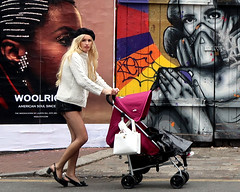 Young Mother, Brick Lane. (scats21) Tags: fishnets beret blonde pram bricklane streetart zabou