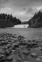 River and Falls in Black and White (Serthra) Tags: canon5dmark4 river waterfall landscape rockymountains canada rocks rockies rockformation blackandwhitephotography blackandwhite water riverbed clouds cloudy blackwhite monochrome nature