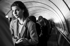 Going up (_storysofar_) Tags: streetphotography streetportrait portrait people girl music headphones thoughts escalator lights subway underground blackandwhite monochrome moscow russia fujifilm