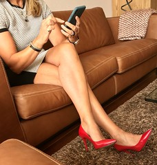 MyLeggyLady (MyLeggyLady) Tags: toe crossed feet cleavage sex hotwife milf sexy secretary teasing thighs minidress cfm pumps stiletto leather red legs heels