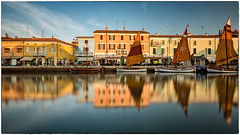 Porto Canale (fil.nove) Tags: portocanale cesenatico canon60d canon1022 wideangle ultrawideangle longexposure lungaesposizione colors colori mare sea reflection riflessi barche boats architecture nauticalvessel europe cityscape water famousplace night house urbanscene travel city canal sunset town tourism history sky buildingexterior everypixel nd1000 ndfilter goldenhour oradoro tramonto