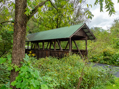 Slab Cabin Park (Dave_Bradley) Tags: covered bridge outdoor park pennsylvania usa olympus mirrorless em5 cloud clouds forest