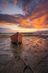 Red Dinghy Sunset (BenjaminMWilliamson) Tags: coast dinghy image landscape me maine mud mudflats newengland photography pinepoint red reflection rope scarborough scenery scenic sky sunset tracks usa