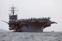 USS Dwight D Eisenhower - Stokes Bay - 09-06-90 (MarkP51) Tags: ussdwightdeisenhower stokesbay the solent usnavy nuclear aircraftcarrier cvn69 ship boat vessel maritimephotography nikon kodachrome64 kodachrome slide film scan