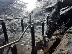 Golden Spray (mikecogh) Tags: glenelg steps sea spray golden sunlight rocks esplanade hightide
