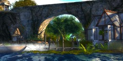 Colour Us Blue (Loegan Magic) Tags: secondlife ocean water sea bridge tunnel house boat rock cliffs ivy bricktrees bushesgrass mist shadow branches lillypads davidgilmour theblue lyrics greenhouse plants sky clouds dock