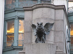 Owl Statue Next to Herald Square Clock 0052 (Brechtbug) Tags: the owls what they seem owl statue with non glowing green eyes next herald square clock cornice from old new york building near macys 33rd 6th avenue commissioned french sculptor antonin jean paul carles features stately that edged rest rooftop were electrified their glass glowed blinked time hammered toning hours city 09032018 sixth 2018 twin peaks type mystery bird birds after empire state