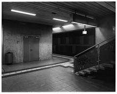 S-Bahnstation Lokalbahnhof (4x5) (Christoph Schrief) Tags: frankfurtammain sbahnstationlokalbahnhof intrepid4x5ii schneidersuperangulon890 ilfordfp4 ilfordilfoteclc29 20° 119 8min stearmantank epsonperfection750 silverfast 4x5 largeformat grossformat selfdeveloped film analog bw sw