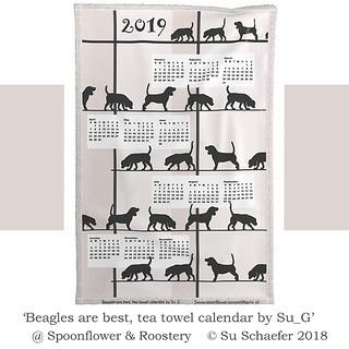 2019 'Beagles are best, tea towel calendar': mockup