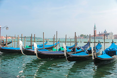 Gondolas are ready to serve! :) (Photography by FAHAD AZIZ (ON/OFF)) Tags: venice venezia italy italia afternoon gondola church canon eos1100 1855mm outdoor landscape photography city tourist sky boat nature building europe blue lampost dslr summer estate september 2018 cityofwater cityscape