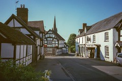Broad Street, Weobley (theoldsmithy) Tags: camera colour olympus herefordshire analogue sky film 35mm
