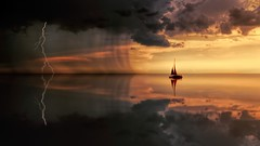 Silhouette Photography Of Boat On Water during Sunset and strom (toptenalternatives) Tags: backlit clouds dawn dramatic dusk lightning ocean reflection sailing sea seascape silhouette sky storm sunrise sunset water