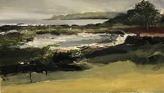 Coastal Path - March oil on board 60 x 34 cm -available (www.sandragraham.co.uk) Tags: art arran artist artartworkartistartistscontemporaryartcollectorstreambrookburnwaterflowingnaturepaintingartistsimpastopainting seascape scotland sea storm brodick mossy shore moss geology green