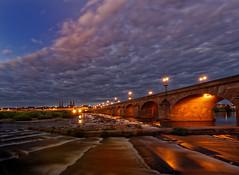 Regemortes bridge on river Allier, Moulins, France (Alona Azaria) Tags: moulinssurallier longexposure waterfall bridgerégemortes night starburst france massifcentral
